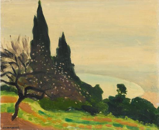 Albert MARQUET - Painting - Brume sur la baie d'Alger