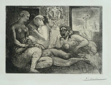 Pablo PICASSO (1881-1973) - Four Nude Women and a Sculpted Head (Vollard Suite pl. 82)