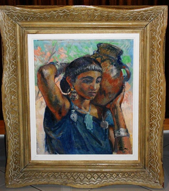 Henri Jean PONTOY - Peinture - Portrait de jeune femme à la cruche