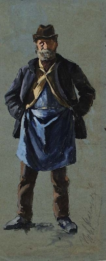 "Robert HEINRICH - Dibujo Acuarela - ""Old Worker"", Watercolor, ca 1900"