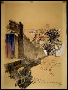 Gabriel CARRIAT-ROLANT - Dibujo Acuarela - RABAT : LA TOUR HASSAN VUE DEPUIS LA KASBAH DES OUDAYAS