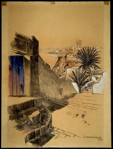 Gabriel CARRIAT-ROLANT - Drawing-Watercolor - RABAT : LA TOUR HASSAN VUE DEPUIS LA KASBAH DES OUDAYAS