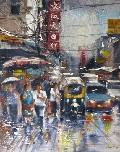 Attasit POKPONG - Peinture - Walking in the Rain