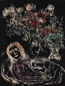 Marc CHAGALL - Grabado - Couple sur fond noir II