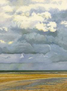 Hugues Claude PISSARRO - Gemälde - Deux Mouettes et les Nuages, Côte Normande