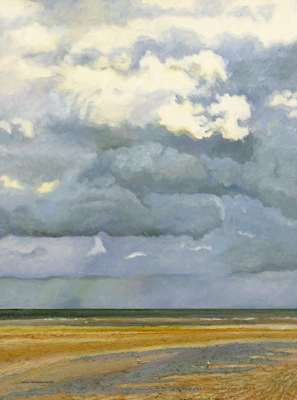 Hugues Claude PISSARRO - Painting - Deux Mouettes et les Nuages, Côte Normande