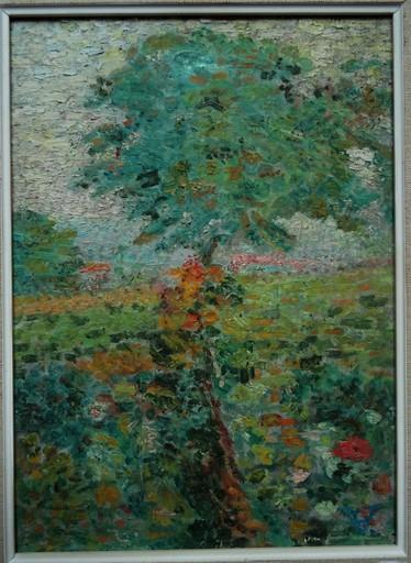 """Ludovic VALLÉE - Gemälde - """" Paysage à l'arbre et aux fleurs"""""""