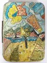 Mikhail LARIONOV - Painting - OIL LANDSCAPE ON TIN BOX