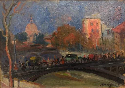 Mario MAFAI - Pittura - Tramonto su Roma
