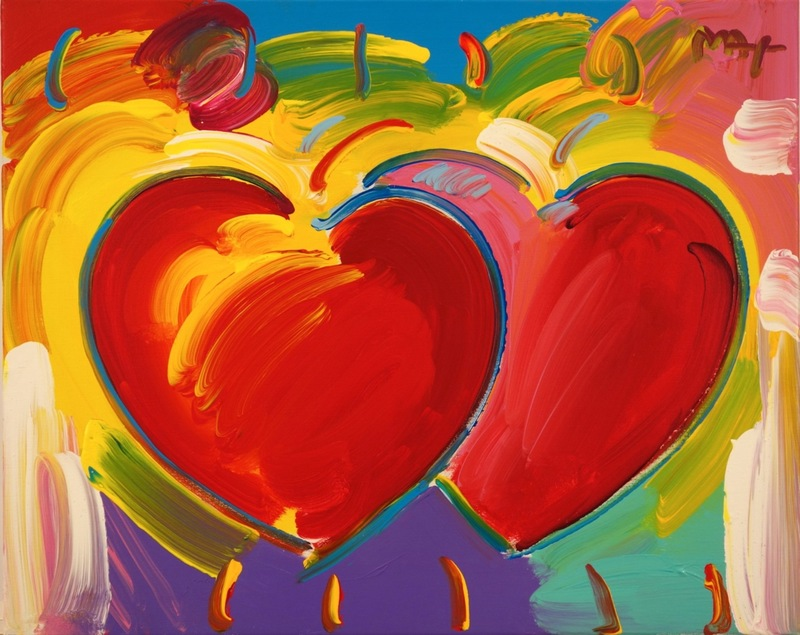 peter max two hearts 1245092 marketplace artprice. Black Bedroom Furniture Sets. Home Design Ideas