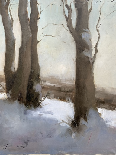 Nicky PHILIPPS - Pittura - Tree trunks in snow