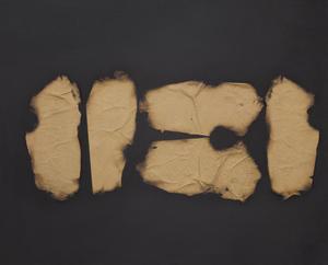 Turi SIMETI - Gemälde - Collage di carta bruciata su tela
