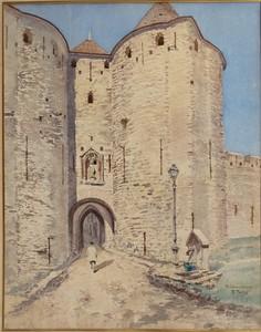 Edmond FONTAN - Zeichnung Aquarell - PORTE NARBONNAISE A CARCASSONNE