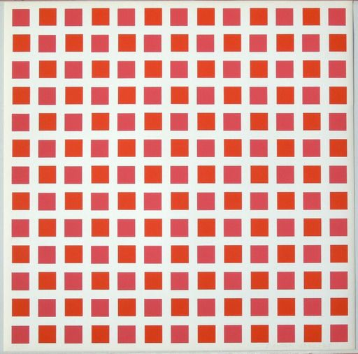 François MORELLET - Print-Multiple - 1 carré rouge 1 carré orange