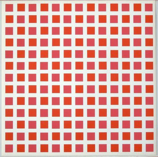 François MORELLET - Estampe-Multiple - 1 carré rouge 1 carré orange