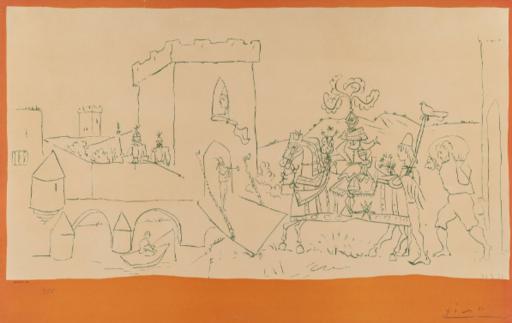 巴勃罗•毕加索 - 版画 - Arrivée  du chevalier