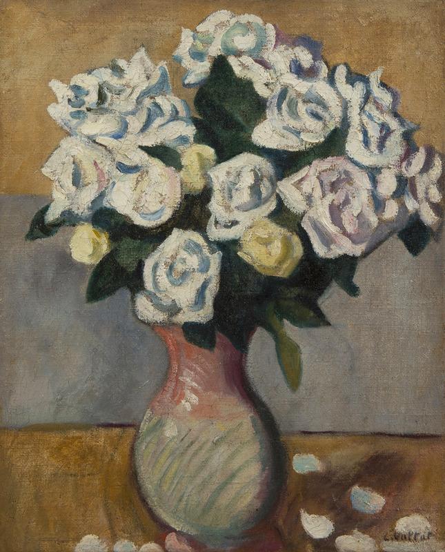 Louis VALTAT - Peinture - Bouquet de roses blanches