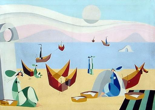 Mario GRANELL - Pittura - esperando en la playa