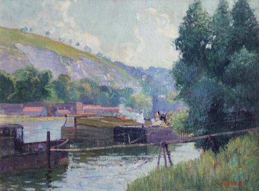 Narcisse GUILBERT - Peinture - Péniches à l'arrêt, L'ile Lacroix, Rouen