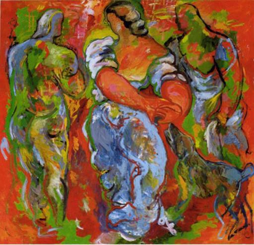 Sandro CHIA - Peinture - Drei Mensch Figuren un Hund