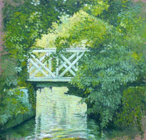Carlos ESTEBAN - Painting - Petit pont vert (Cat N° 3172)