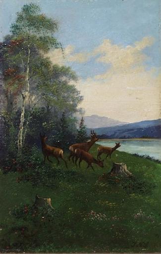"""Johann Nepomuk SPIEHS - Pittura - """"Roe Deer at Riverbank"""" by Johann N. Spiehs, ca.1900"""