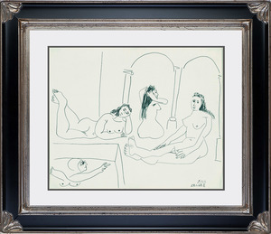 Pablo PICASSO - Dessin-Aquarelle - Le Bain (The Bath)