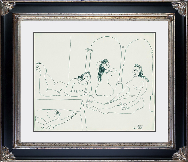 Pablo PICASSO - Drawing-Watercolor - Le Bain (The Bath)