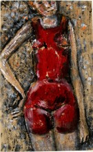 Mikhail LARIONOV - Pintura - Girl in a red bathing suit