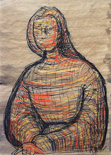 Henry MOORE - Drawing-Watercolor - Seated Figure