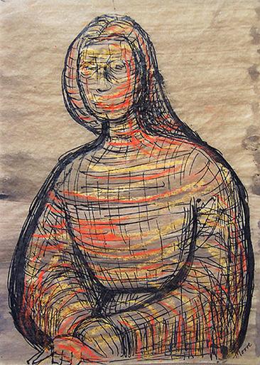 Henry MOORE - Dibujo Acuarela - Seated Figure