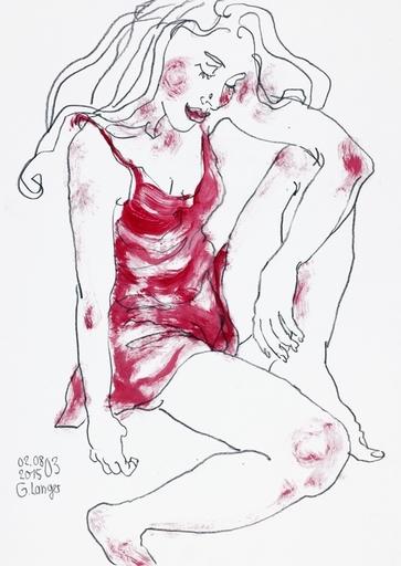Gunter LANGER - Radierung Multiple - Im roten Kleid