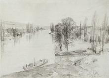 Adolph VON MENZEL - Drawing-Watercolor - An der Fulda bei Kassel