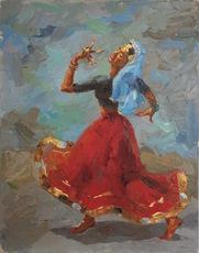 Ismail GULGEE - Pintura - Dancing Woman