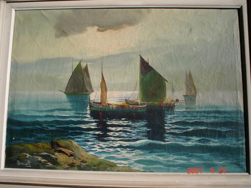 Gustavo MANCINELLI - Pintura - les bateaux sur le lac