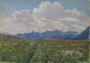 "Robert HEINRICH - Drawing-Watercolor - ""Summer in Mountains"" by Robert Heinrich, ca 1910"