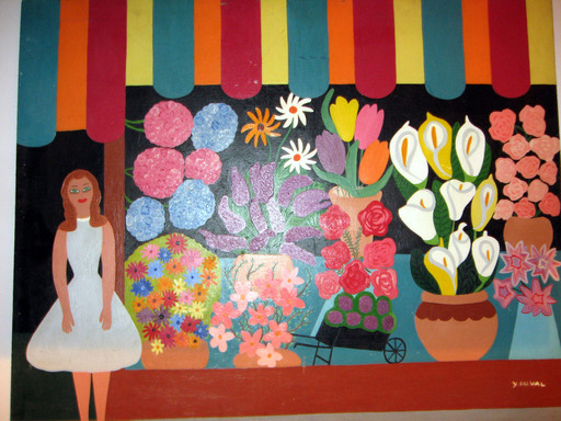 Yvonne DUVAL - Peinture - La marchande de fleurs