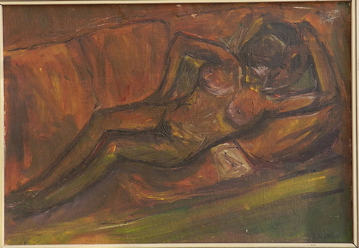 Jozef KOLLAR - Pittura - Lying on the sofa