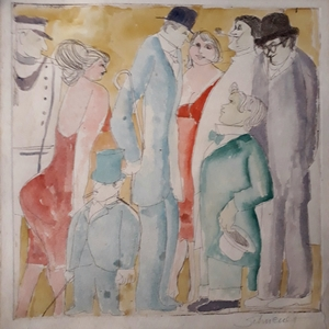 David SCHNEUER - Dibujo Acuarela - Figures in Paris