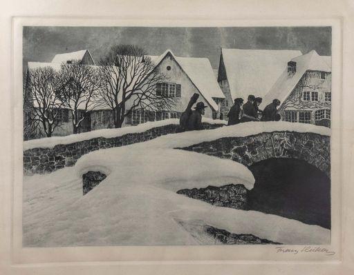 Franz HECKER - Stampa Multiplo - Musikanten beim Überqueren einer Brücke in einem verschneite