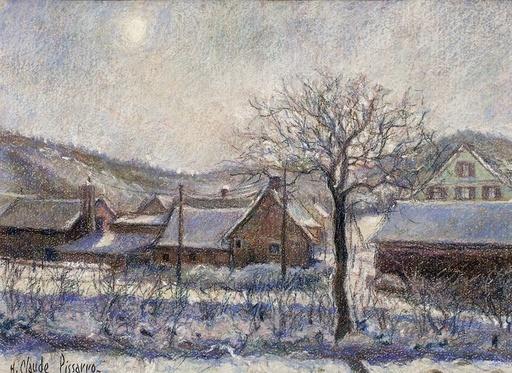 Hugues Claude PISSARRO - Dibujo Acuarela - Neige a Criqueville-Saint Leger