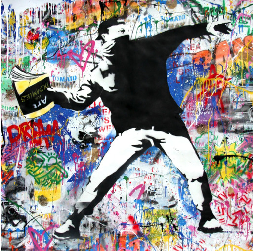 MR BRAINWASH - Pintura - Banksy Thrower