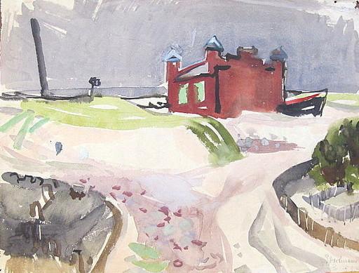Erich HARTMANN - Disegno Acquarello - Rettunghaus in Nidden