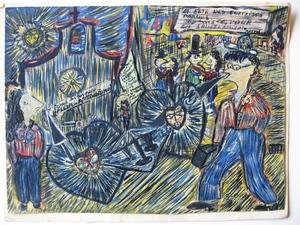 François OZENDA - Dibujo Acuarela - LA FETE DES SURPRISES PARTIES