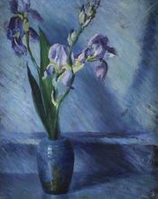 Katherine MACCAUSLAND - Painting - Irises in the vase