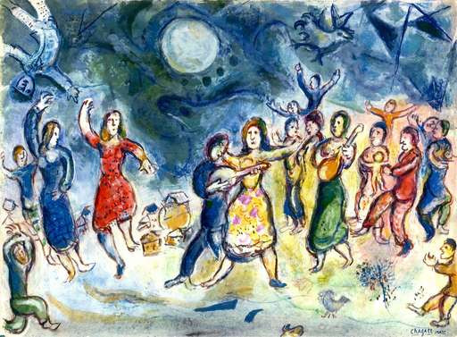 Marc CHAGALL - Drawing-Watercolor - Fête au Village