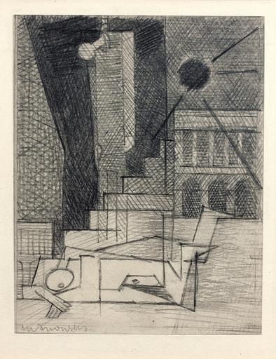 Louis MARCOUSSIS - Drawing-Watercolor - Place de la Concorde (Étude pour Aurélia)