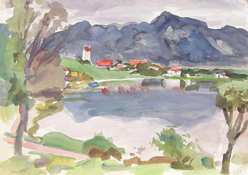Erich HARTMANN - Disegno Acquarello - Hopfensee