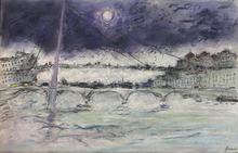 Jean FUSARO - Dibujo Acuarela - La passerelle du Palais de Justice -Lyon