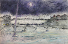 Jean FUSARO - Drawing-Watercolor - La passerelle du Palais de Justice -Lyon